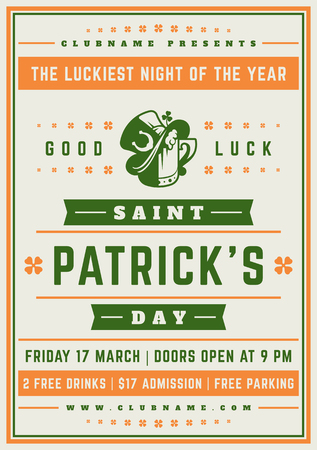 Saint Patricks Day Retro Typographic Party Poster Background. Vintage Vector Illustration.