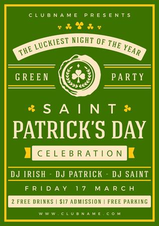 celtic background: Saint Patricks Day Retro Typographic Party Poster Background. Vintage Vector Illustration. Illustration