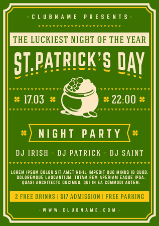 17: Saint Patricks Day Retro Typographic Party Poster Background. Vintage Vector Illustration. Illustration