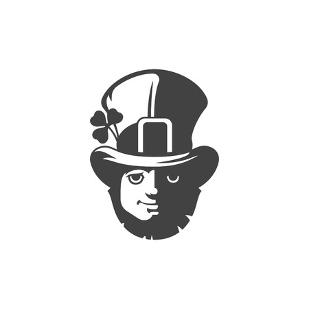 st  patrick's day: Leprechaun Isolated on white background vector icon in retro style. Can be used for logo or badge. Illustration