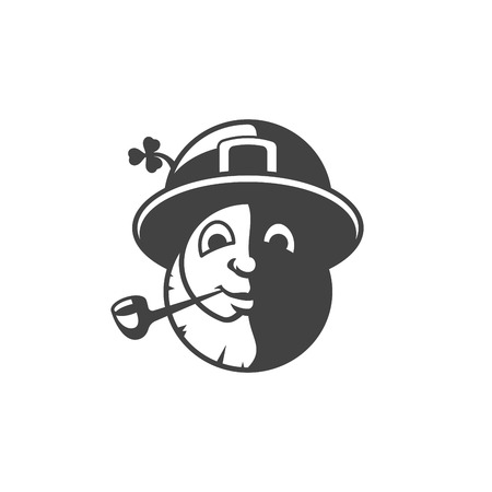 festive: Leprechaun Isolated on white background vector icon in retro style. Can be used for logo or badge. Illustration