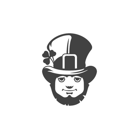 clover face: Leprechaun Isolated on white background vector icon in retro style. Can be used for logo or badge. Illustration