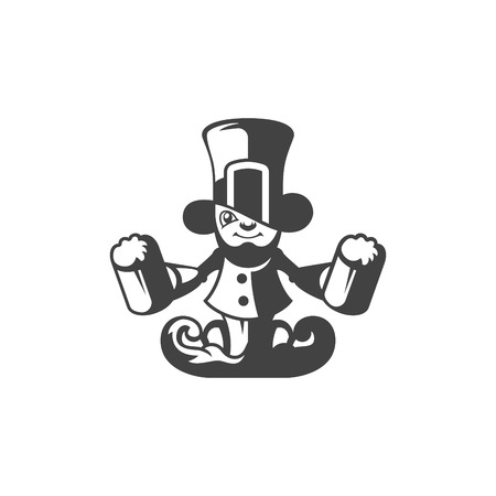 Leprechaun Isolated on white background vector icon in retro style. Can be used for logo or badge. Illustration