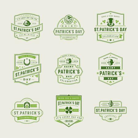 st: Happy Saint Patricks Day Retro Typographic Badges Set