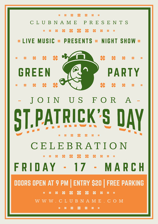 lucky clover: Saint Patricks Day Retro Typographic Party Poster