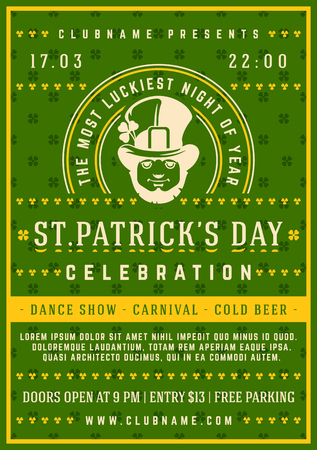 Saint Patricks Day Retro Typographic Party Poster