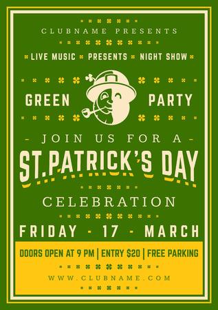 st: Saint Patricks Day Retro Typographic Party Poster Background. Vintage Vector Illustration. Stock Photo