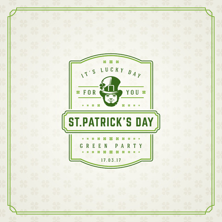 greeting season: Saint Patricks Day Retro Typographic Badge on Pattern Background. Vintage Vector design greetings card or poster.