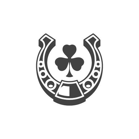 talisman: Herradura aisladas sobre fondo blanco icono de vector en estilo retro. Puede ser utilizado para el logotipo o la insignia.