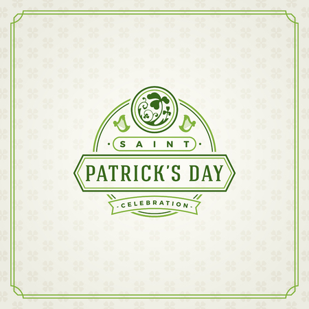 st: Saint Patricks Day Retro Typographic Badge on Pattern Background. Vintage Vector design greetings card or poster.