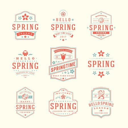 romance: Spring Typographic Badges Design Set. Vector Vintage Logos Elements good for Spring Greeting Cards.