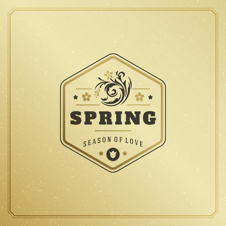 romance: Spring Badge Vector Typographic Design Vintage Greeting Card. Golden textured Background. Eps 10.