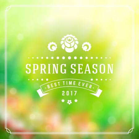decor graphic: Spring Badge Vector Typographic Design Greeting Card. Spring Blurred lights and flowers.
