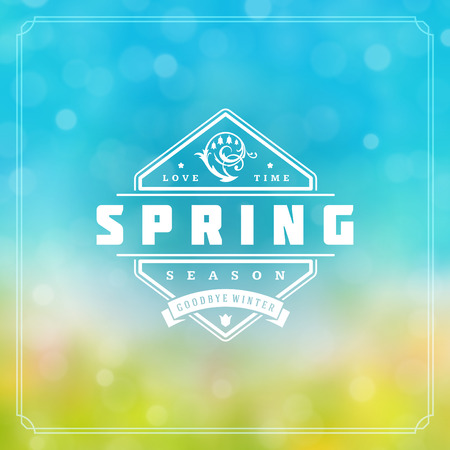 Spring Badge Vector Typographic Design Greeting Card. Spring Blurred lights Background and flowers. Eps 10. Illustration