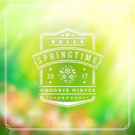 decor graphic: Spring Badge Vector Typographic Design Greeting Card. Spring Blurred lights  and flowers. Illustration