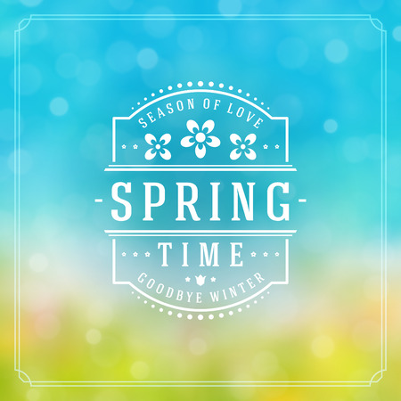 springtime: Spring Badge Vector Typographic Design Greeting Card. Spring Blurred lights and flowers.