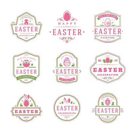 festive background: Easter badges and labels vector design elements set.