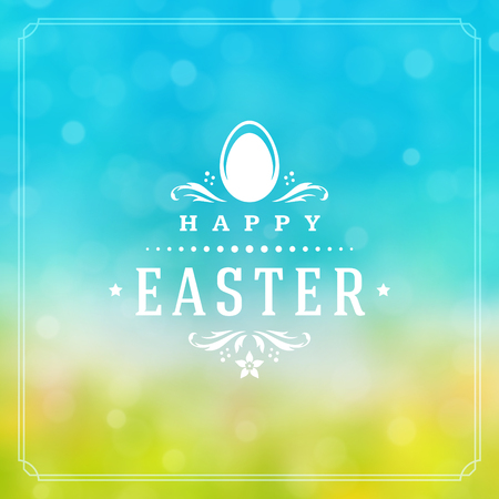 traditional: Happy Easter Greeting Card Design text template and badge vector design.