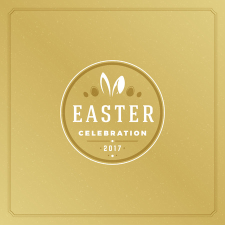 traditional: Easter Greeting card text template and badge vector design element Illustration
