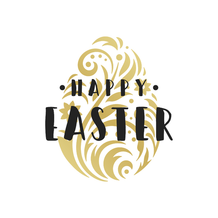 Easter Greeting card text template and badge vector design element. Illustration