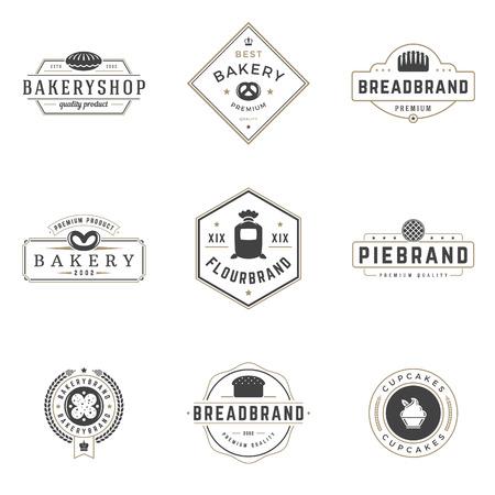 Bakkerij Winkel Logos Templates Set. Vector object en iconen