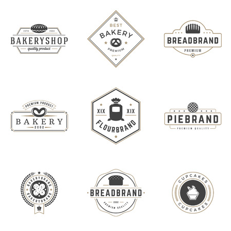 Bakery Shop Logos Templates Set. Vector object and Icons