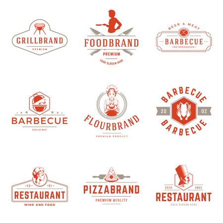 Restaurant logos templates vector objects set. Logotypes or badges Stock Illustratie