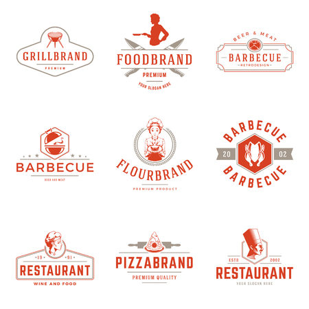 Restaurant logos templates vector objects set. Logotypes or badges Illustration