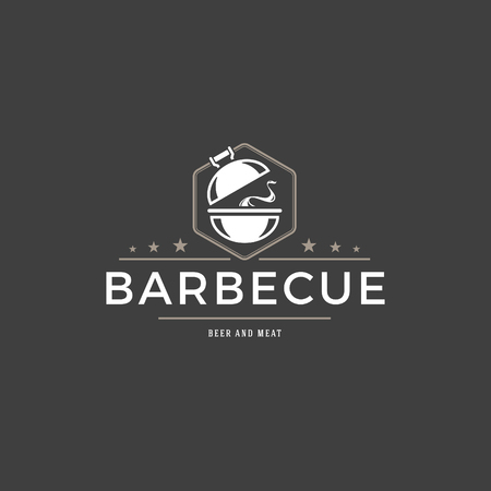 Barbecue logo template vector object for logotype or badge Stock Illustratie