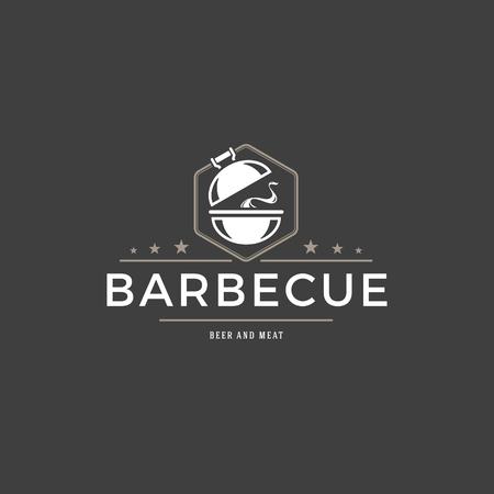 Barbecue logo template vector object pour logotype ou badge