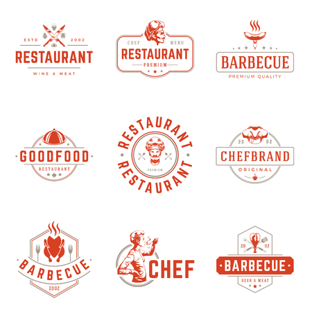 europe: Restaurant logos templates vector objects set.