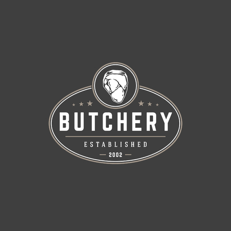 food: Butchery shop logo template vector object for logotype or badge Design. Illustration