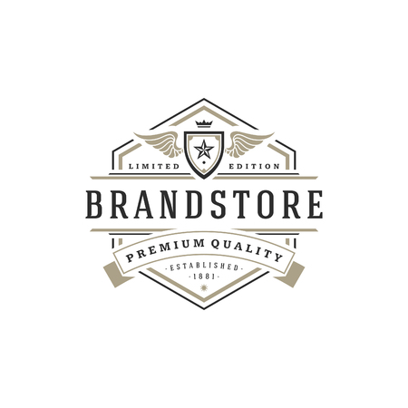luxury template: Luxury logo template vector object for logotype or badge Design.