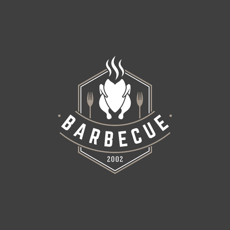 style: Restaurant logo template vector object for logotype or badge Design. Trendy retro style illustration, Barbecue grill chicken silhouette. Illustration