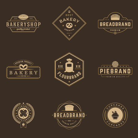 bakery products: Bakery Shop Logos Templates Set. Vector object and Icons for Pastries Labels, Bread Badges, Emblems Graphics. Illustration