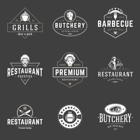 retro restaurant: Restaurant logos templates vector objects set. Logotypes or badges Design. Trendy retro style illustration, Chef man, Barbecue, Meat Steak silhouettes.