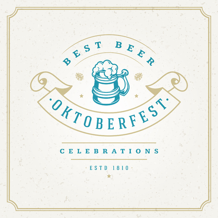 Oktoberfest Greeting card or Flyer design on the textured background. Beer festival celebration.