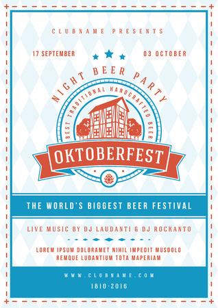 bar: Oktoberfest beer festival celebration concept designed for poster or flyer template retro typography with red broken line and solid blue border