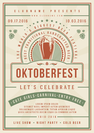 Oktoberfest beer festival celebration concept designed for poster or flyer template retro typography with solid red and green border