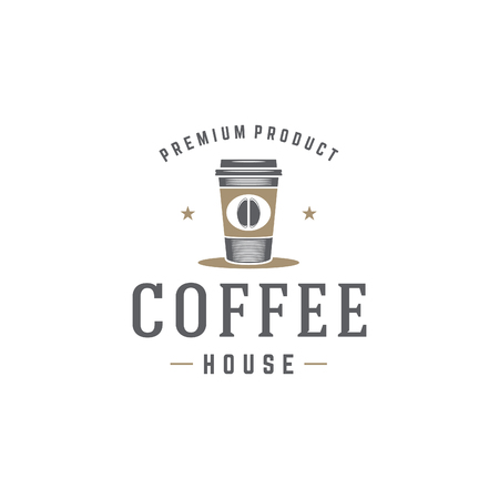 Coffee Shop Logo Template. Coffee Cup or Tea Silhouette Isolated On White Background.