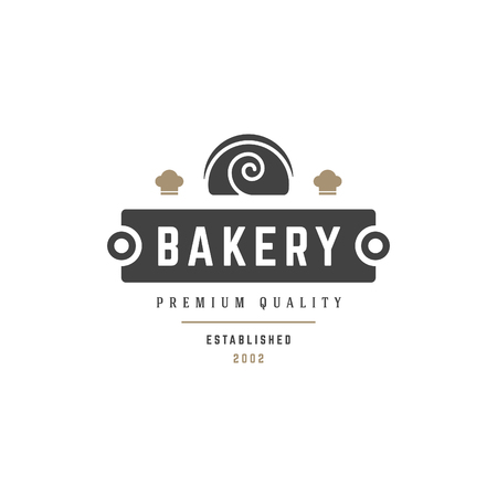 Bakery Shop Logo Template. Vector object and Icons for Pastry Food Label or Badge, Bakery Food Logotype Design, Emblems Graphics. Pie Silhouette, Cafe Logo. Иллюстрация