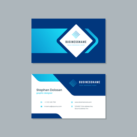 Business card design trendy blue colors template modern corporate branding style vector Illustration. Two sides with abstract logo on clean background.