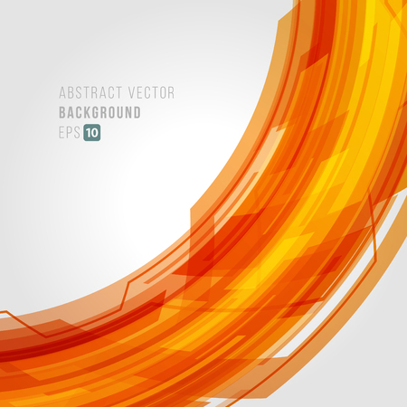 Abstract technology orange bright circular lines with light background. Illustration