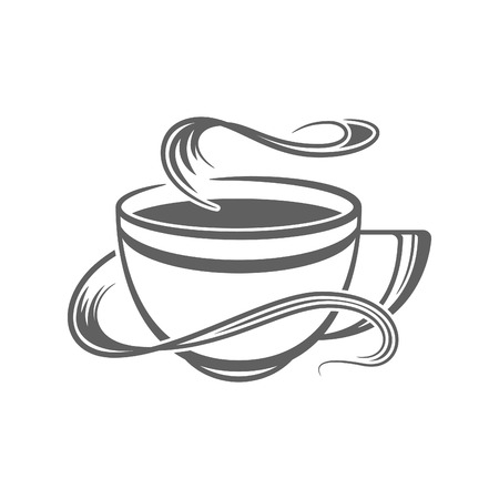 Coffee or Tea Cup Vector Illustration. Coffee Cup Silhouette Isolated On White Background. Vector object for Labels, Badges, Logos Design.