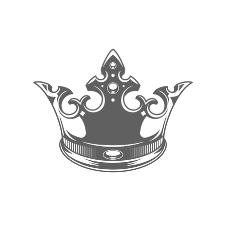 King Crown Logo Vector Illustration. Royal Crown Silhouette Isolated On White Background. Vector object for Labels, Badges, Logos Design. Illustration