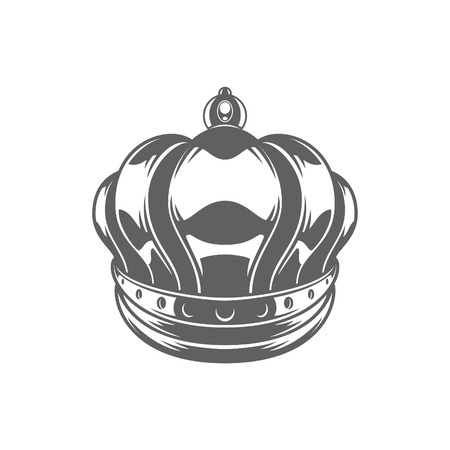 autoridad: King Crown Logo Vector Illustration. Royal Crown Silhouette Isolated On White Background. Vector object for Labels, Badges, Logos Design. Vectores
