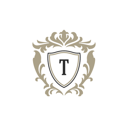 Luxury monogram logo template vector object for logotype or badge Design. Trendy vintage royal ornament frame illustration, good for fashion boutique, alcohol or hotel brand. 일러스트