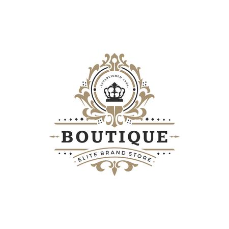 Luxus Logo Vorlage Vektor Objekt für Logo oder Abzeichen Design. Königliche Artillustration der modischen Weinlese, gut für Modeboutique, Alkohol oder Hotelmarke.