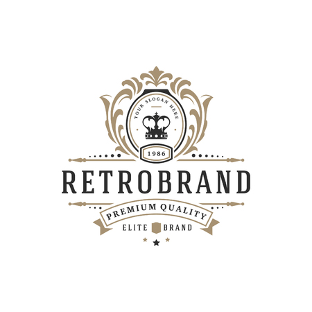 Luxe logo sjabloon vector-object voor logo of badge ontwerp. Trendy vintage koninklijke stijlillustratie, goed voor modeboutique, alcohol of hotelmerk. Stock Illustratie