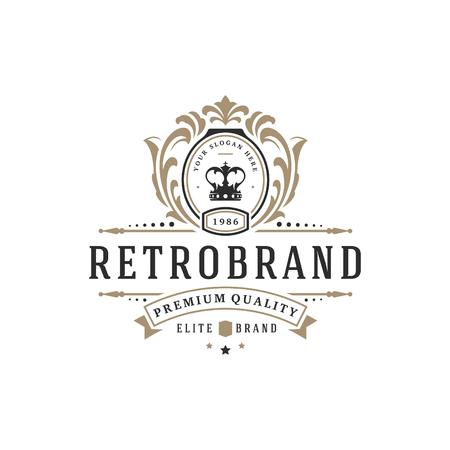 Luxury logo template vector object for logotype or badge Design. Trendy vintage royal style illustration, good for fashion boutique, alcohol or hotel brand. Reklamní fotografie - 90836278